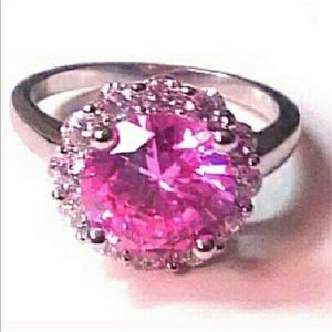 COPY - BNIB Vintage Pink Diamond Ring Sterling Si…
